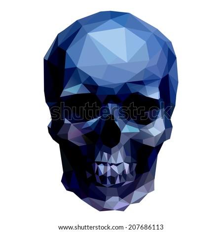 dark crystal skull on white background - stock vector