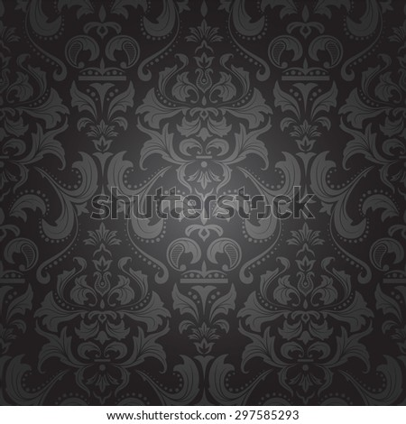 Dark damask seamless royal pattern. Vector illustration. - stock vector