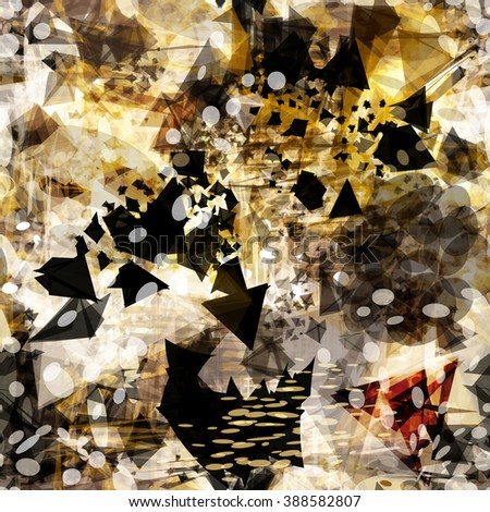 Dark elements of triangles, ovals, and golden spots. Gray blots and scratches. Abstract seamless background. Vector. Grunge design - stock vector
