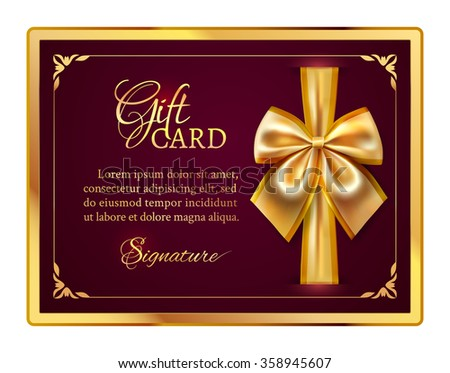 Dark festive template of horizontal gift card with gold ribbon, bow and place for congratulate text in the golden frame - stock vector
