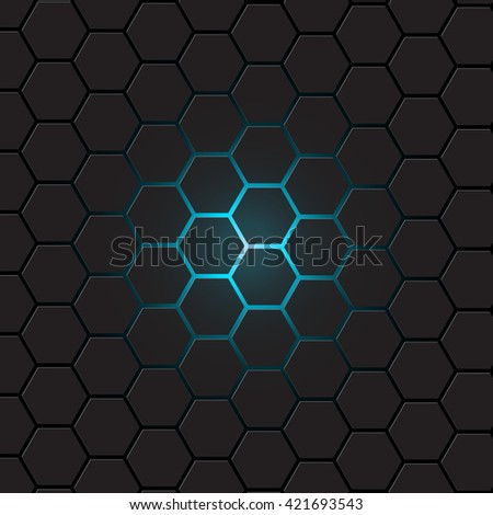 Dark gray hexagon background, vector - stock vector