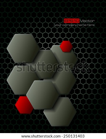 Dark gray hexagons technology and communication background. Vector illustration - stock vector