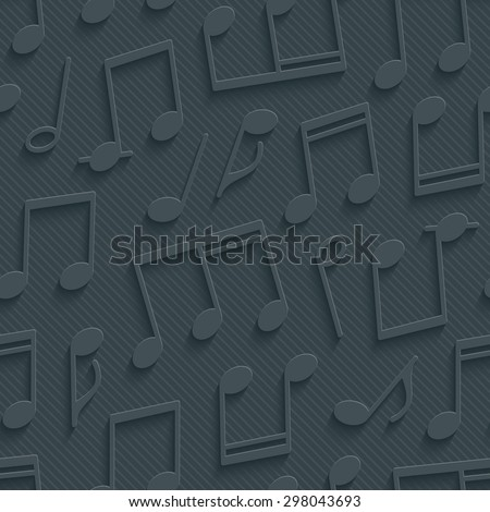 Dark gray musical wallpaper. 3d seamless background. Vector EPS10. See others in My Perforated Paper Sets. - stock vector