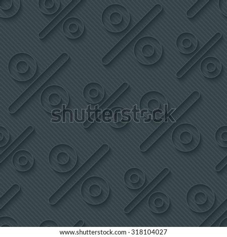 Dark gray percent symbols wallpaper. 3d seamless background. Vector EPS10. - stock vector