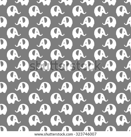 dark gray with white elephants pattern, seamless texture background - stock vector