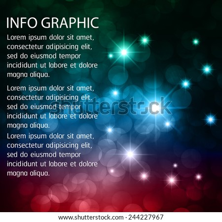 Dark green blue red Defocused Light, Flickering Lights, Vector abstract festive background with bokeh defocused lights. universe, galaxies, stars. text box. Brochure. card. - stock vector