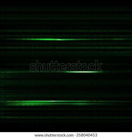 Dark green blurred background with binary code in vector. Horisontal number - stock vector