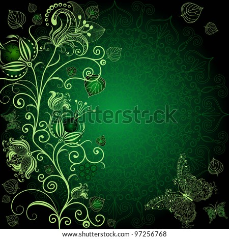 Dark green floral frame with flowers and butterflies (vector EPS 10) - stock vector
