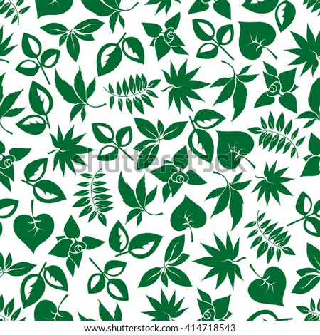 Dark green foliage seamless background for nature theme, retro wallpaper or fabric design with cartoon pattern of various leafy branches  - stock vector