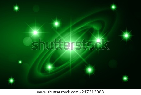 Dark Green sparkling background with stars in the sky and blurry lights, illustration. Abstract, Universe, Galaxies, ring.  - stock vector