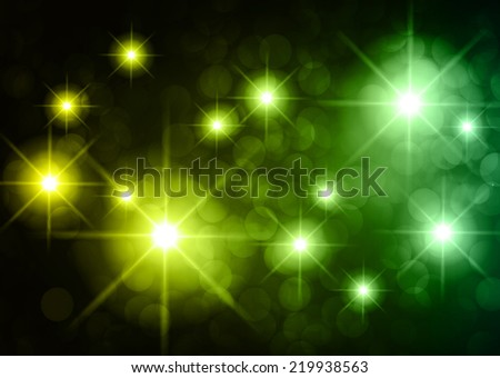 Dark green yellow sparkling background with stars in the sky and blurry lights, illustration. Abstract, Universe, Galaxies. - stock vector