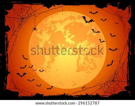 Dark Halloween background with orange Moon, spiders and bats, illustration. - stock vector