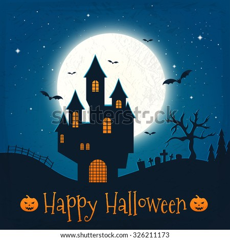 Dark house on blue full Moon. Happy Halloween. Vector illustration - stock vector