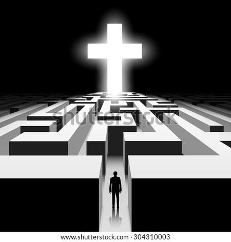 Dark labyrinth. Silhouette of man. White Cross. Stock vector image. - stock vector