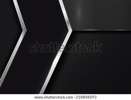 Dark Metallic Background - stock vector