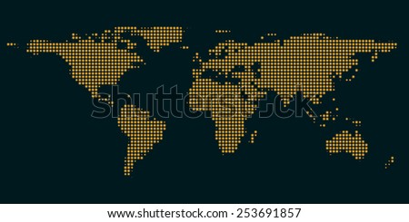 dark orange map of the world with light of the cities - eps 10 - stock vector