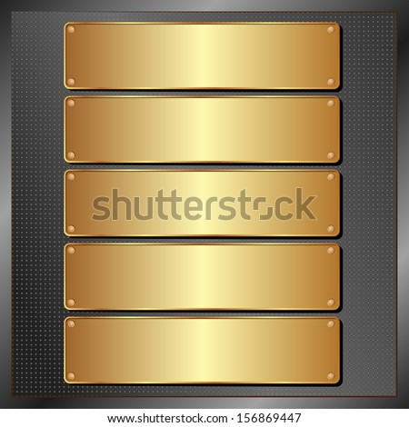 dark panel with five golden banners - stock vector