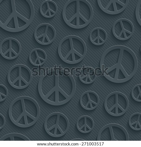 Dark perforated paper with cut out effect. 3d peace simbol seamless background. Vector EPS10. - stock vector