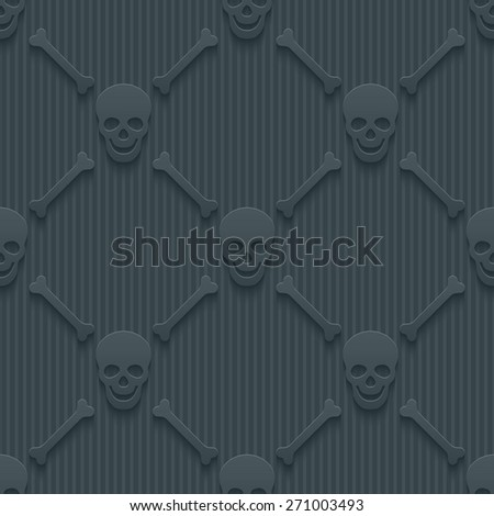 Dark perforated paper with cut out effect. 3d skulls and bones seamless background. Vector EPS10. - stock vector