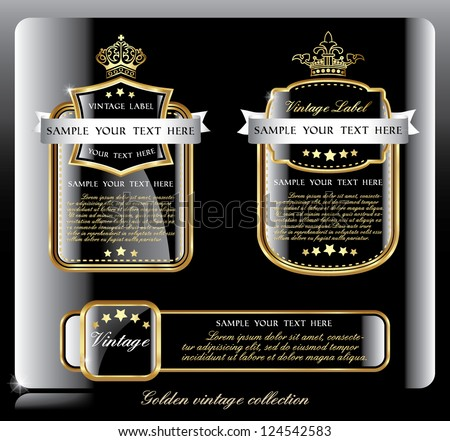 dark piano blue collection of vintage alcohol wine labels - stock vector