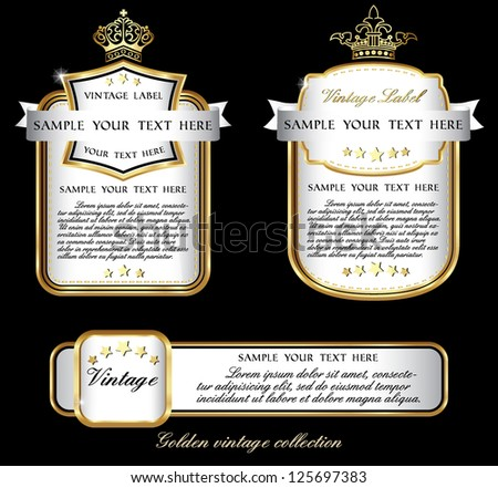 dark piano white collection of vintage alcohol wine labels - stock vector