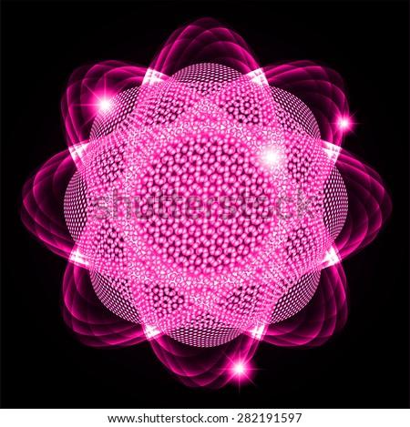 Dark pink Shining atom scheme. Vector illustration. dark background. digital. infographics. Abstract Technology background for computer graphic website internet  - stock vector