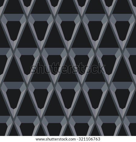 Dark polygons pattern on black background. Seamless - stock vector