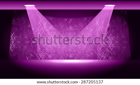 Dark purple Abstract light lamps background for Technology computer graphic website internet and business.. Screen on stage. Vector illustration.Spot Effect. neon. point, platform, Spotlights - stock vector