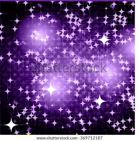 Dark purple Defocused Light, Flickering Lights, Vector abstract festive background with bokeh defocused lights. universe, galaxies, stars. - stock vector