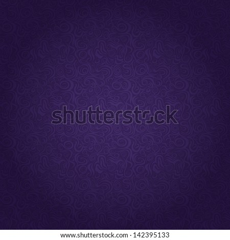 Dark Purple Seamless Pattern with Abstract Curly Elements. Vector Illustration - stock vector