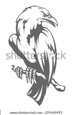 Dark raven on the branch in cartoon style, such logo. Jpeg version also available in gallery - stock vector