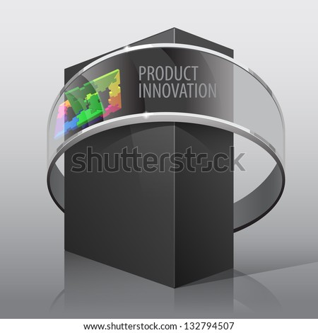 Dark Realistic Package Cardboard Box. For presentation Software, electronic device and other products. Vector illustration - stock vector