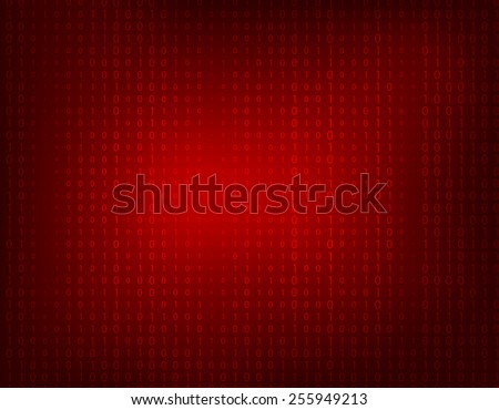 Dark red abstract background with faint binary ones and zeros. - stock vector
