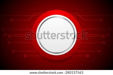 Dark red hi-tech background with circuit board. Vector design - stock vector