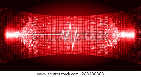Dark red Sound wave background suitable as a backdrop for music, technology and sound projects. Blue Heart pulse monitor with signal. Heart beat. - stock vector