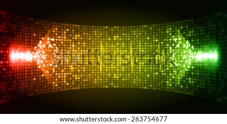 Dark red yellow green Sound wave background suitable as a backdrop for music, technology and sound projects. Blue Heart pulse monitor with signal. Heart beat. - stock vector