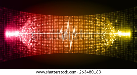 Dark red yellow Sound wave background suitable as a backdrop for music, technology and sound projects. Blue Heart pulse monitor with signal. Heart beat. - stock vector