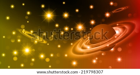 Dark red yellow sparkling background with stars in the sky and blurry lights, illustration. Abstract, Universe, Galaxies, ring.  - stock vector