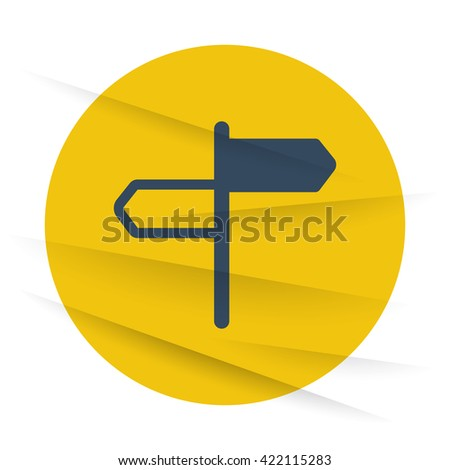 Dark Road Signs icon label on wrinkled paper - stock vector