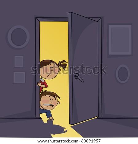 Dark room and frightened children - stock vector