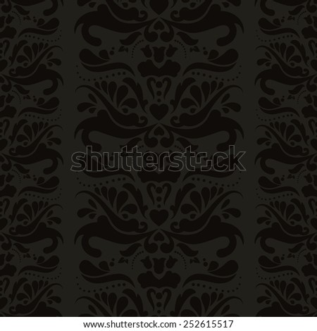 Dark seamless floral background - stock vector