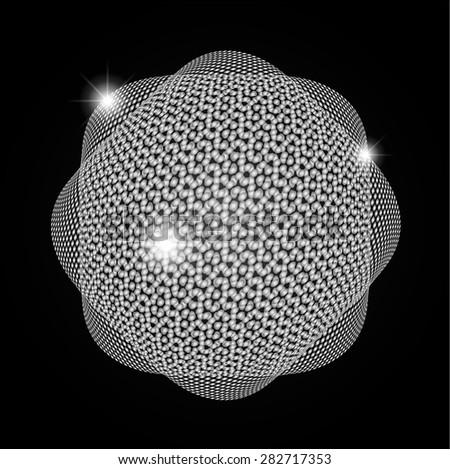 Dark silver Shining atom scheme. Vector illustration. dark background. digital. infographics. Abstract Technology background for computer graphic website internet - stock vector