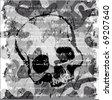 Dark skull grunge background. - stock vector