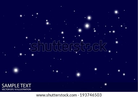 Dark sky and stars vector background template - Vector sparkles by night and dark background illustration - stock vector