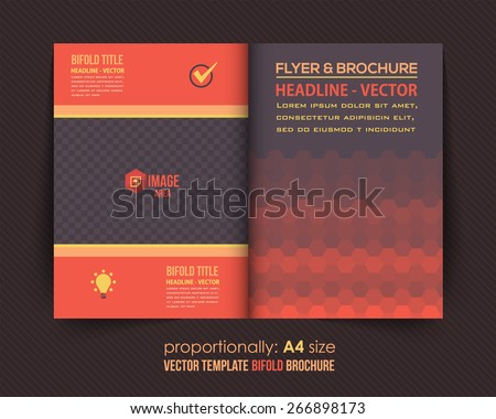 Dark Style Business Bi-Fold Brochure Design. Corporate Leaflet, Cover Template - stock vector