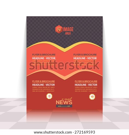 Dark Style Red and Orange Colors Business Concept Flyer, Brochure Design. Corporate Leaflet, Cover Template - stock vector