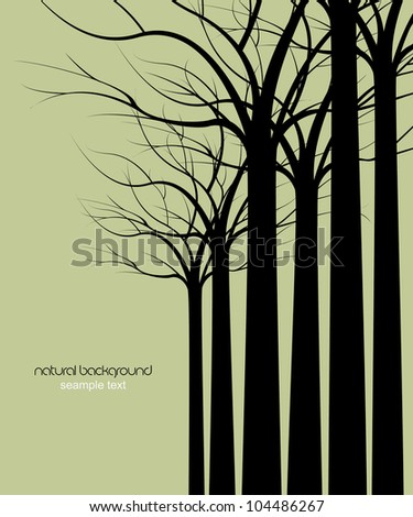dark trees without leaves on green background - stock vector