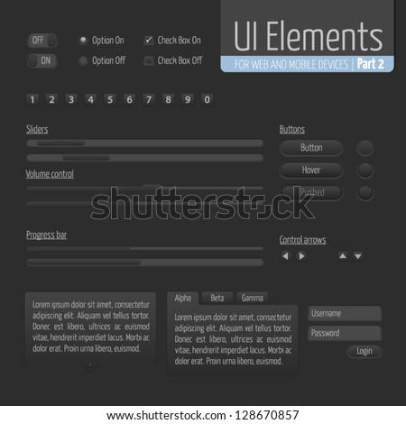 Dark UI Elements Part 2: Sliders, Progress bar, Buttons, Authorization form, Volume control etc. - stock vector