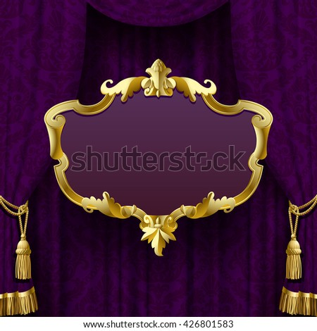 Dark violet curtain with suspended gold decorative baroque frame. Square presentation artistic poster and placard. Vector Illustration - stock vector