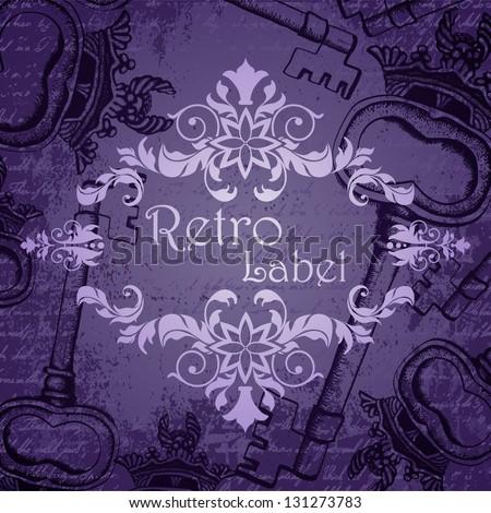 Dark violet vintage background with antique keys and frame - stock vector